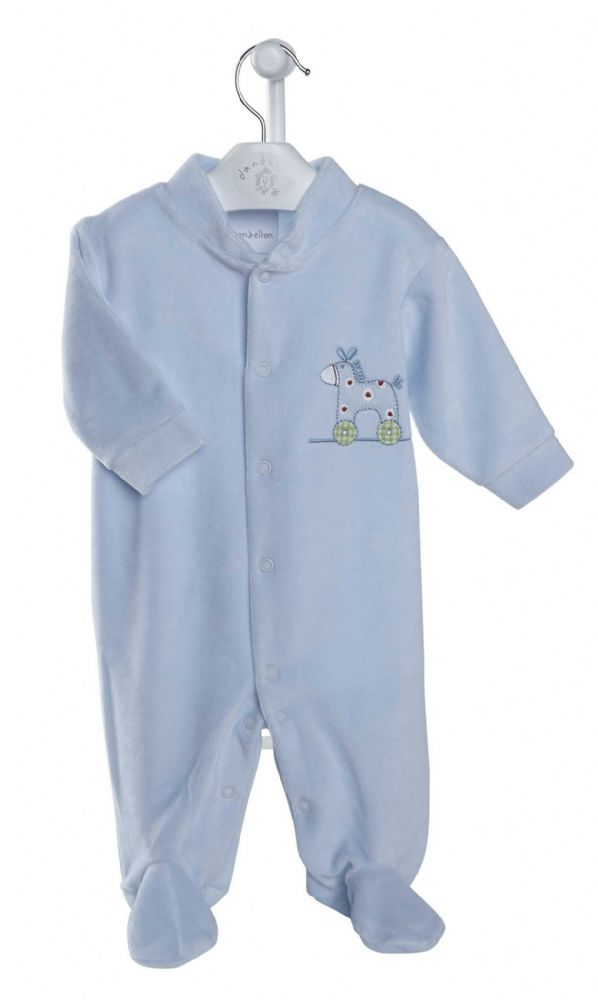 AV1210 Rocking Horse Velour Sleepsuit B